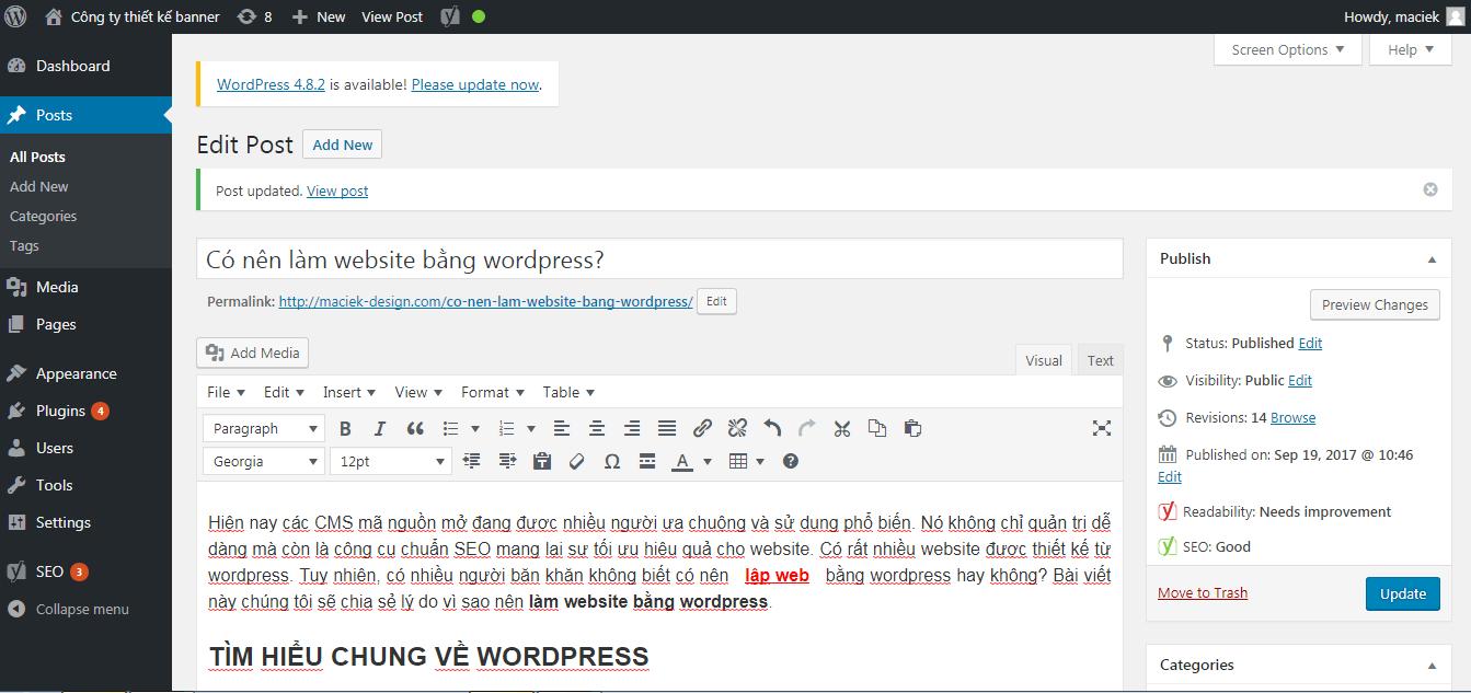 Cấu trúc cơ bản của bộ quản trị WordPress