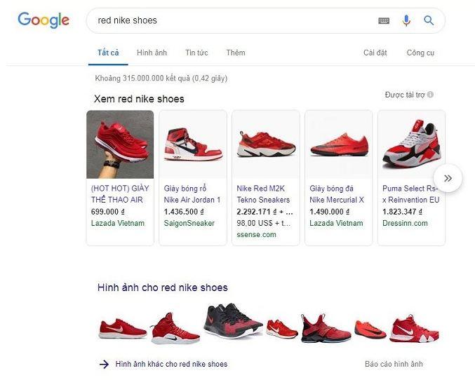 Cách hiển thị của google shopping