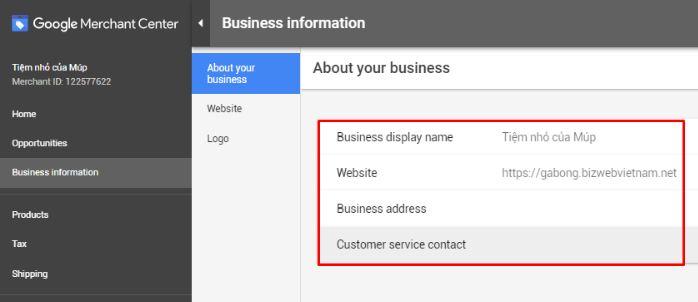 Cập nhật thông tin doanh nghiệp
